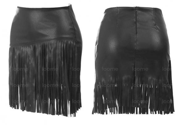 Spódnice Skórzana spódnica z frędzlami