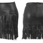 Skórzana spódnica z frędzlami