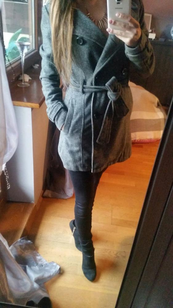Płaszcz H&M ciemnoszary na guziki wiązany 34 XS