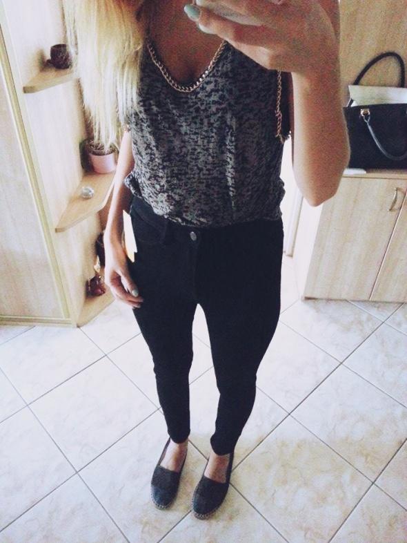 rurki jeansy spodnie dżinsy HM wysoki stan czarne w Spodnie