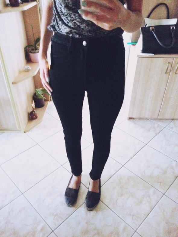 rurki jeansy spodnie dżinsy H&M wysoki stan czarne