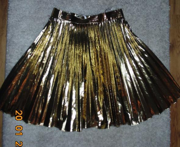 Spódnice spódnica plisowana złota 36 38