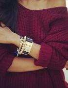 sweter bordowy na jedno ramię