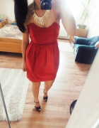 gorsetowa sukienka czerwona s mega promocja