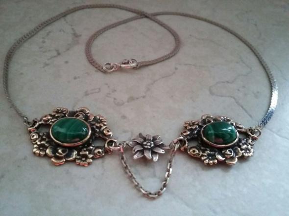 srebrny naszyjnik szarotka kwiaty malachit