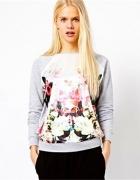 Szara bluza floral
