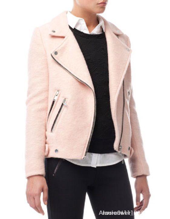 Ubrania Pudrowa ramoneska biker beżowa różowa nude