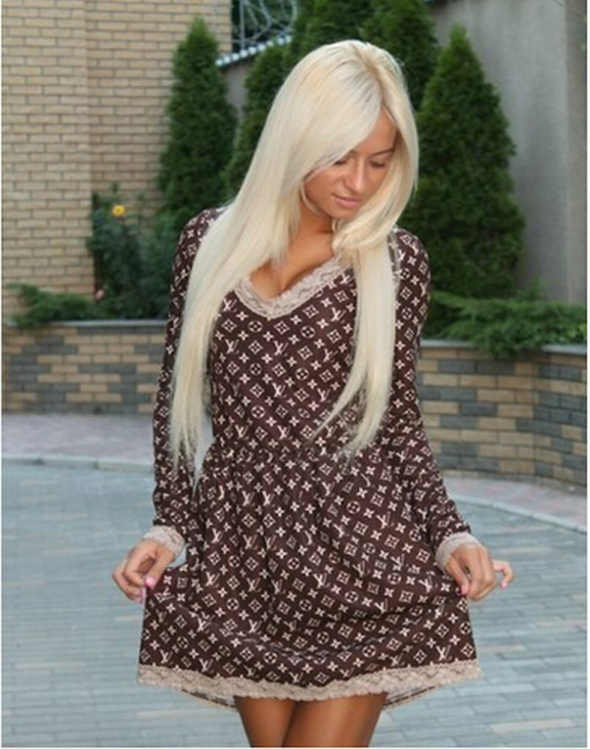 3ad45a097f9391 Suknie i sukienki LV styl Louis Vuitton cudo sukienka różne rozmiary
