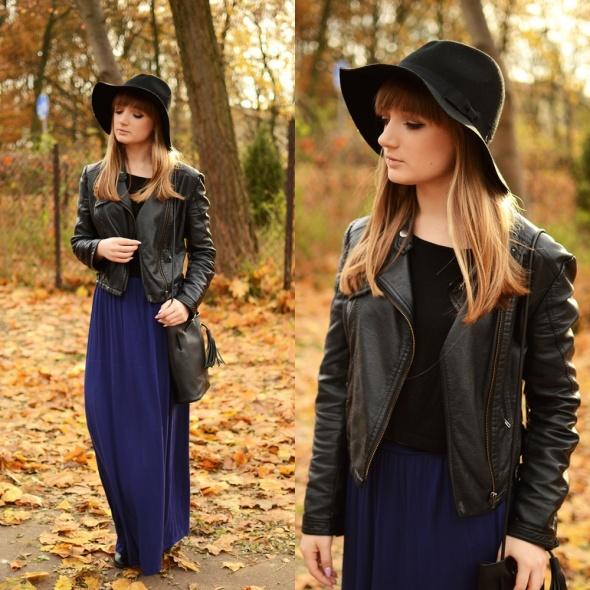 Blogerek Długa sukienka i kapelusz