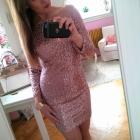 Beżowa cekinowa złota sukienka New Look bandażowa