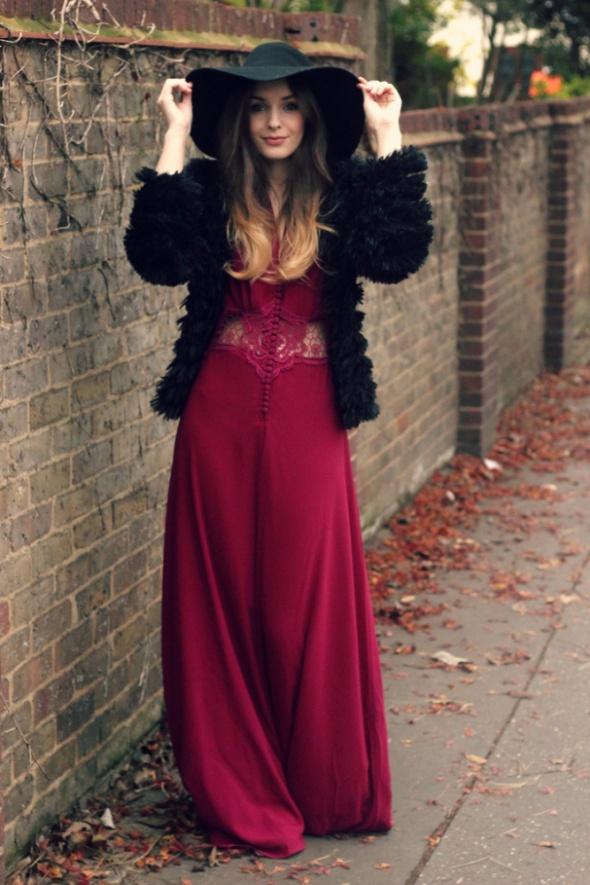 asos sukienka maxi bordowa burgundy gipiura 34 w suknie i