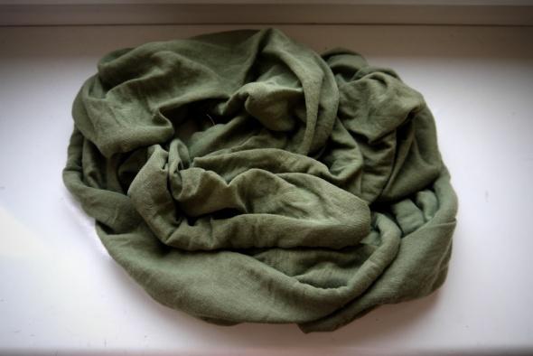 Chusty i apaszki Zielona khaki apaszka chusta komin