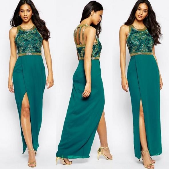 2a4b83f7ed Suknie i sukienki Virgos lounge szmaragdowa suknia maxi ze złotem 36
