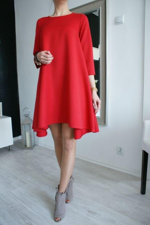 4a91db6947ddaf czerwona trapezowa sukienka ZARA w Suknie i sukienki - Szafa.pl