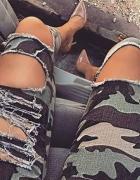 Spodnie moro z dziurai