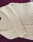 Sweter ZARA KNIT XS ecru warkocz Kasia Tusk