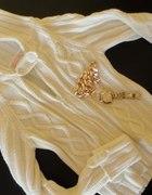 Solidny mięsisty sweterek zip beige ecru