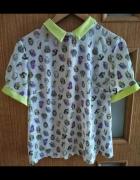 Jedwabna bluzka w sówki neonowy kołnierzyk
