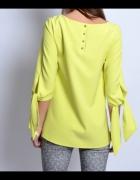 Limonkowa bluzka wiązane rękawy kokardy