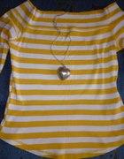 ŚLICZNY sweter żółto białe paski TANIOO