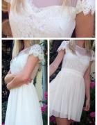Biała zwiewna sukienka z koronką