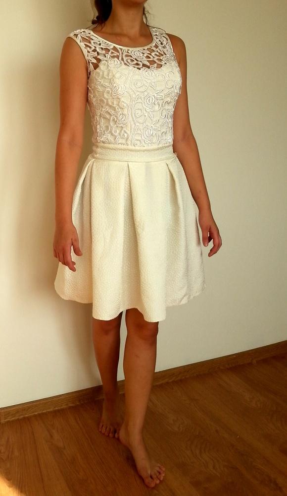 53ef317c93 Popularne obiekty Kremowa sukienka na studniówkę wesele bal w Suknie i  sukienki LB-37