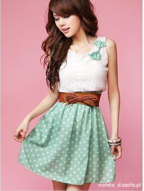 Sukienka japan style miętowa w groszki koronka...