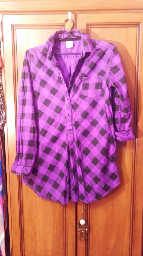 Długa fioletowa koszula w kratę w Koszule Szafa.pl  TY9Hl