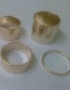 Komplet 4 sztuk pierścionków obrączek złotych