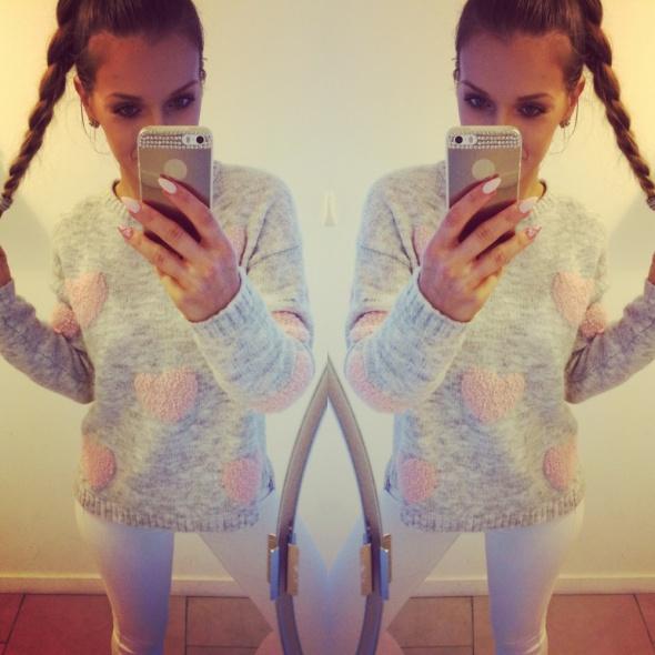 Mój styl cieply sweter serca