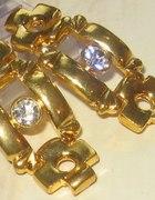 kolczyki z kryształem kolor złota...