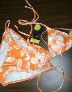 pomarańczowy strój kąpielowy bikini...
