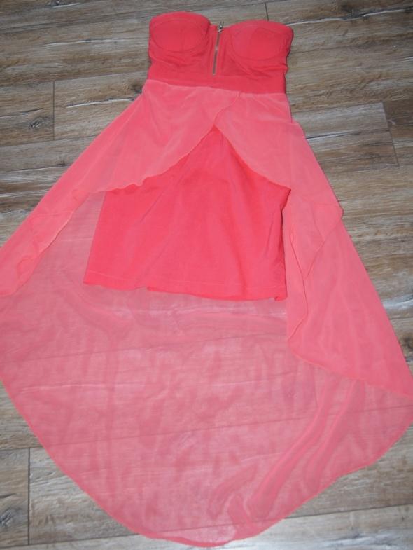 Suknie i sukienki Asymetryczna różowa sukienka zamek