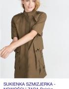 Zara sukienka szmizjerka khaki military...
