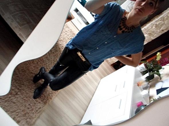 Codzienne skóra jeans zamkni dzęty mój look 534