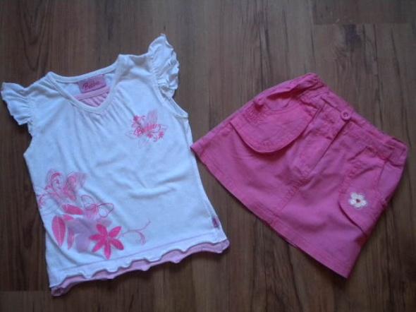 Komplety BARBIE biała bluzka różowa spódniczka 98 104