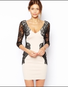 sukienka koronkowa Lipsy miechelle keegan beżowa