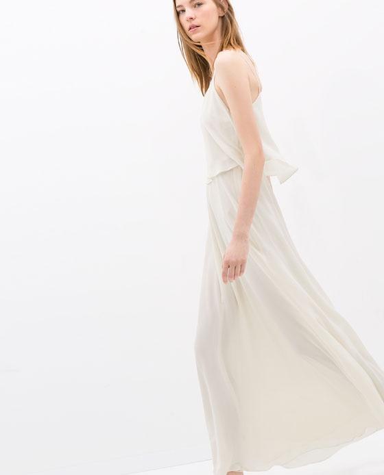 6ac6a335a3 Suknie i sukienki ZARA maxi sukienka falbanka biała krem długa tusk