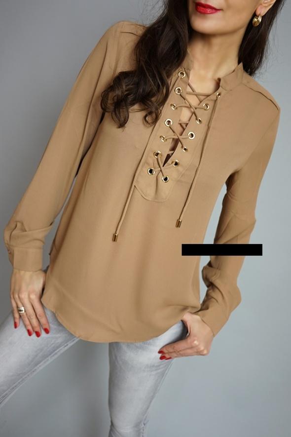 Poważnie szyfon bluzka koszula wiązana złote sznurowana 36 w Bluzki - Szafa.pl JC02