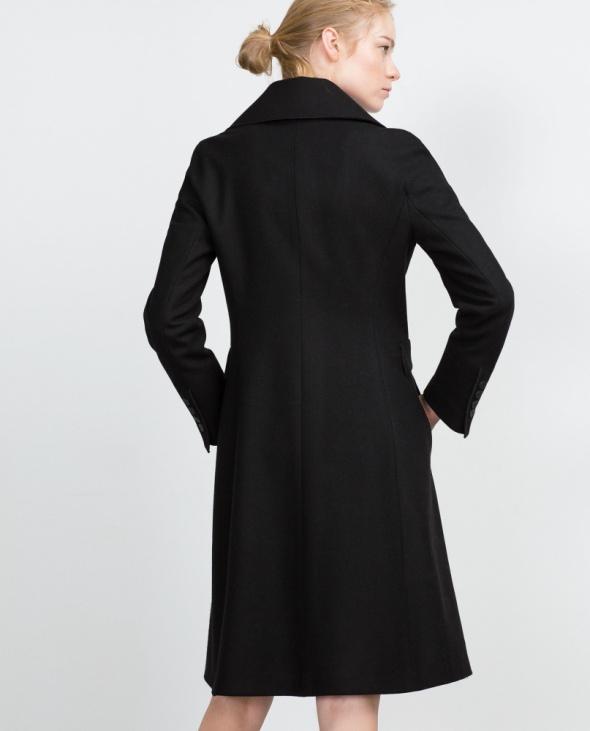 ZARA długi wełniany płaszcz z klapami czarny XS w Odzież