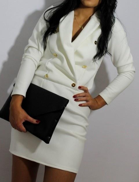 Nowa sukienka militarna biała złote guziki HIT w Suknie i