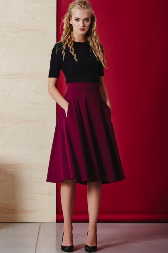 Mój styl Burgundowa spódnica z kieszeniami