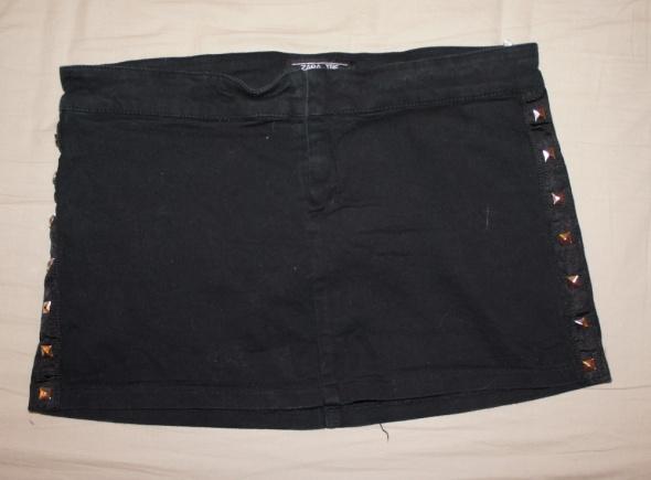 Spódnice Spódnica mini zara czarna ćwieki
