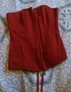 Gorset czerwony wiązany XS S M usztywniany