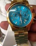 zegarek mk złoty turkusowa tarcza