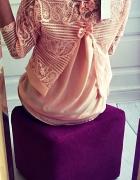 Łososiowo pudrowa bluzka z kokardą M L