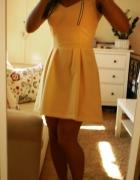 Sukienka żółta zamek rozkloszowana