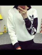 bluza adidas nowa szara biała czarna dresowa