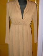 Beżowa sukienka kopertowa z długim rękawem S M