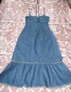 Jeansowa sukienka maxi z falbanką